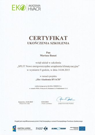certyfikat ukończenia szkolenia akademii HVAC