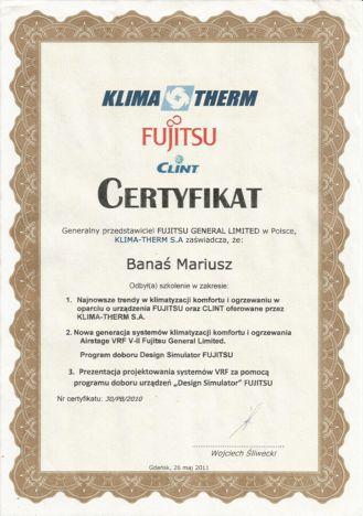Certyfikat ukończenia szkolenia Fujitsu