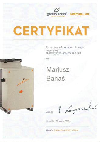 certyfikat ukończenia kursu Gazuno