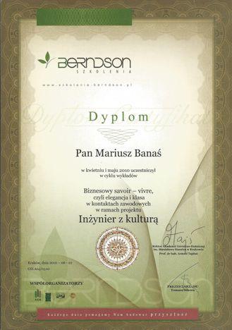 Dyplom ukończenia kursu savoir-vivre w biznesie