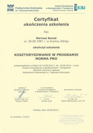 certyfikat ukończenia kursu kosztorysowania