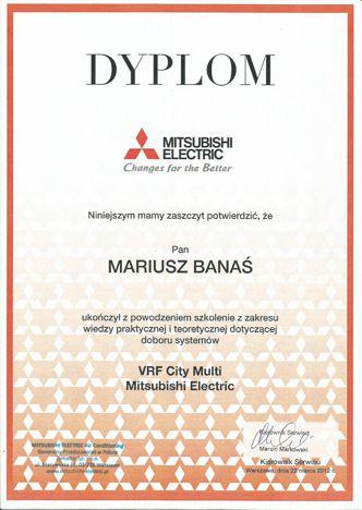 certyfikat ukończenia szkolenia Mitsubishi