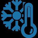 ikona przedstawiająca termometr i płatek śniegu